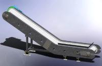 Convoyeur incliné à tapis métallique